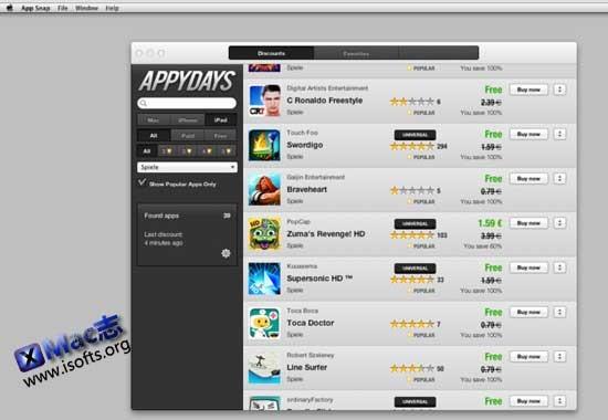 Mac平台的最新App Store内Mac/iPhone/iPad应用限时免费信息查询工具 : AppyDays