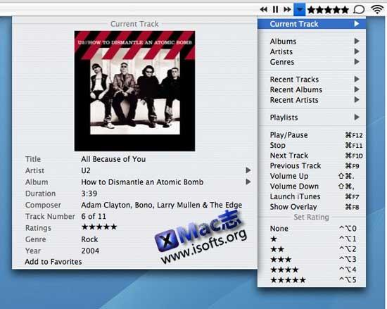 you control: tunes : Mac平台下的菜单栏的iTunes控制器