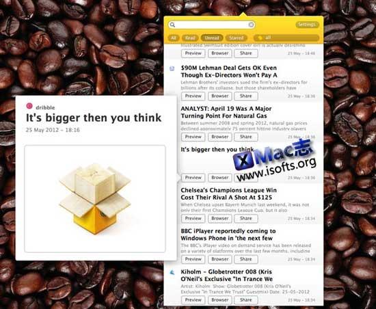 Mac平台的菜单栏Google阅读器客户端 : Moka【免费】