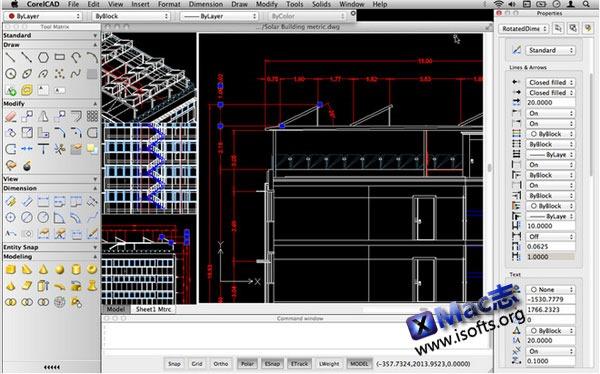Mac平台的CAD绘图工具 : CorelCAD