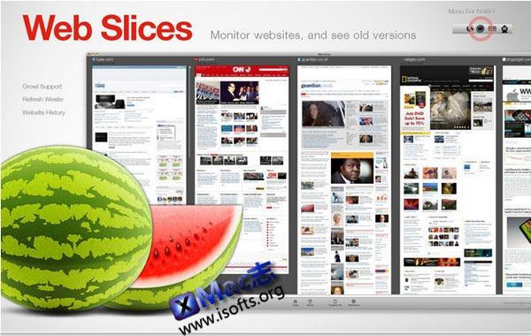 Mac平台下定时截取网页快照截图工具 : Web Slices – Site Snapshots