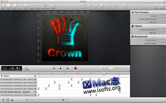 Mac平台的视频电影的片头动画及水印制作工具 : Animationist