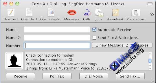 Mac平台的语音答录及自动传真工具 : CoMa X