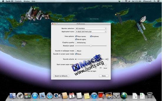Mac平台的3D地球桌面工具 : Earth 3D