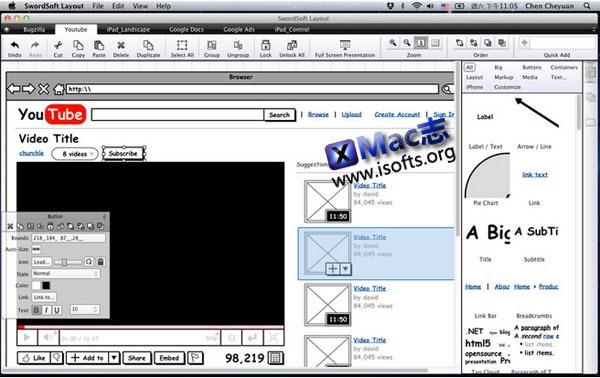 Mac平台的界面原型设计工具 : SwordSoft Layout