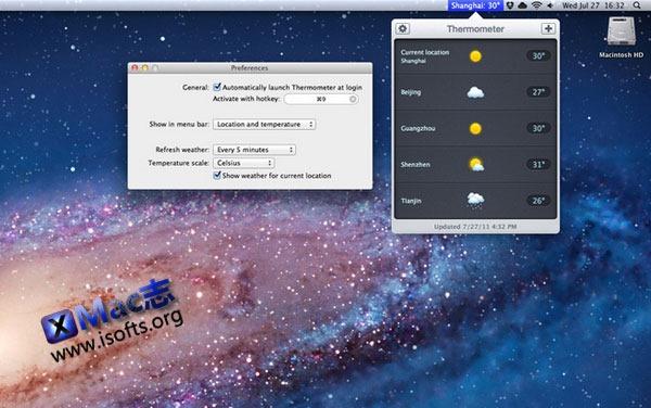 Mac平台的天气预报应用 : Thermometer