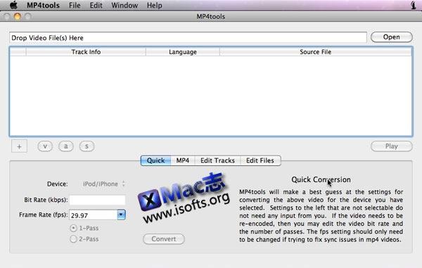 Mac平台MP4视频转换/分割/合并工具 : MP4tools