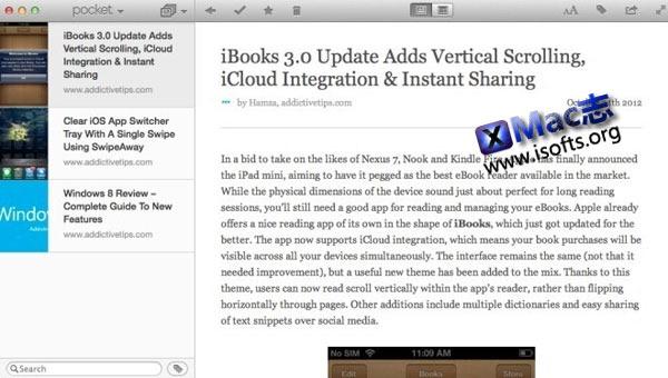 Mac平台下收集网络和App中文章等有空时再看 : Pocket for Mac