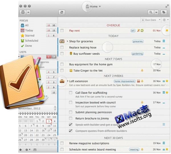 Mac平台的优秀GTD待办事项管理工具 : 2Do for Mac