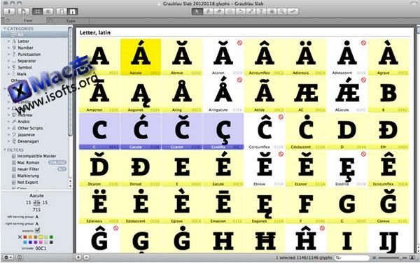 Mac平台的字体创建编辑工具 : Glyphs