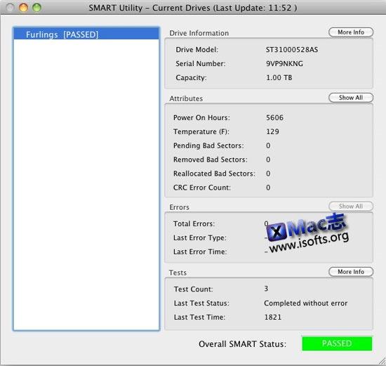 Mac平台的磁盘诊断工具 : SMART Utility