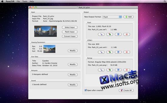 Mac平台的全景图转换工具 : Pano2VR