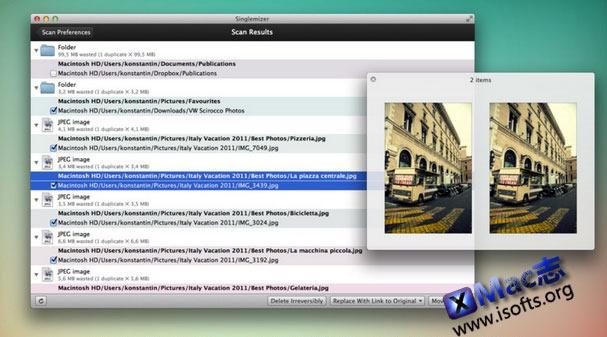 Mac平台的重复文件检测及删除工具 : Singlemizer