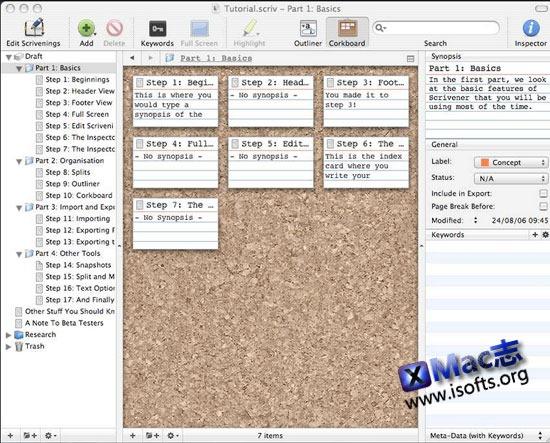 Mac平台的文本编辑处理工具 : Scrivener