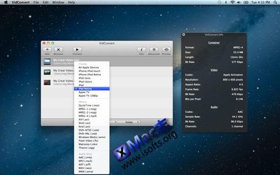 Mac平台简单易用的视频转换工具 : VidConvert