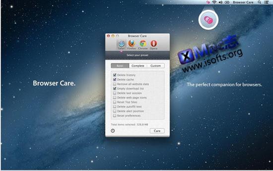 Mac平台的浏览器缓存清除工具 : Browser Care