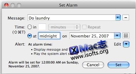 Mac平台简单易用的闹钟工具 : Pester