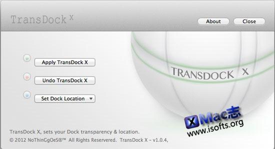 Mac电脑的Dock工具栏透明度及固定位置定制工具 : TransDock X