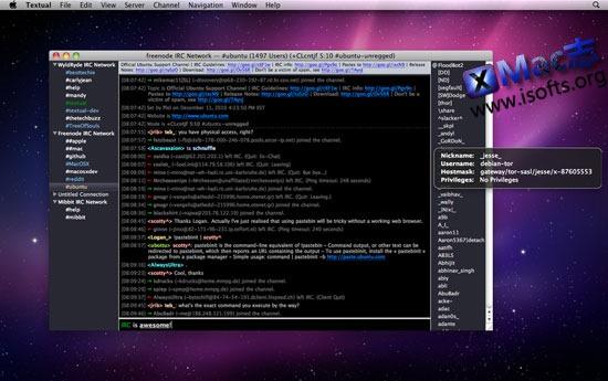 Mac平台轻量级的IRC网络聊天客户端 : Textual