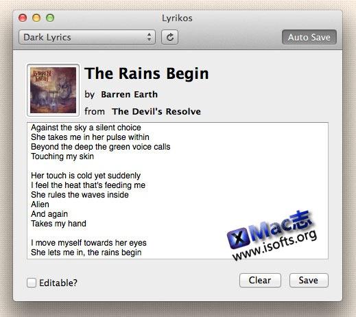 Mac平台的iTunes歌词显示及编辑保存工具 : Lyrikos