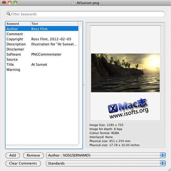 [Mac]PNG图片元数据编辑工具 : PNGCommentator