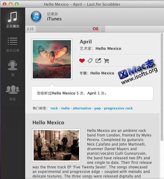 [Mac]Last.fm音乐客户端程序 :Last.fm Scrobbler for Mac