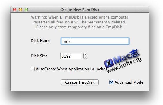 [Mac]虚拟内存盘工具 : TmpDisk