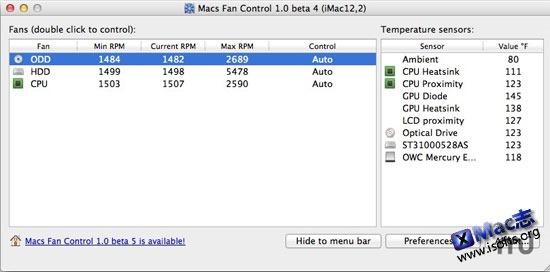 [Mac]风扇运转监控及转速控制工具 : Macs Fan Control