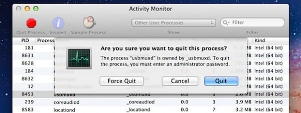 6个在Mac OS X上强行退出应用程序的方法