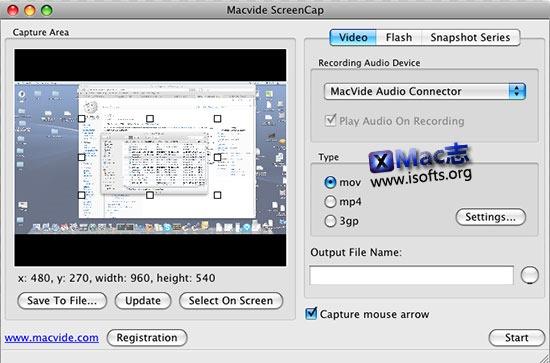 [Mac]音频录制及屏幕录像工具 : Macvide ScreenCap