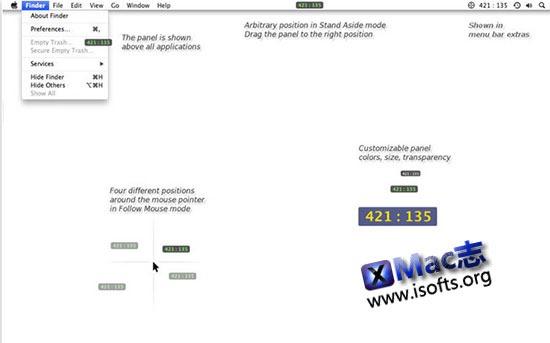 [Mac]实时显示鼠标的桌面桌面坐标 : MyPoint Coordinates