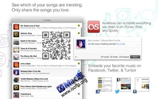 [Mac]增强型音乐播放控制及分享跟踪工具 : Audiozue