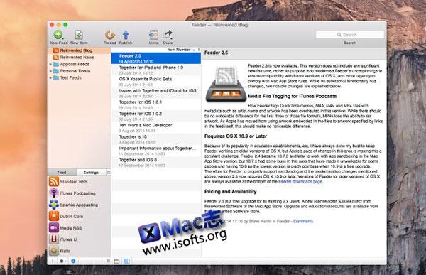 [Mac]RSS源创建/编辑/发布工具 : Feeder