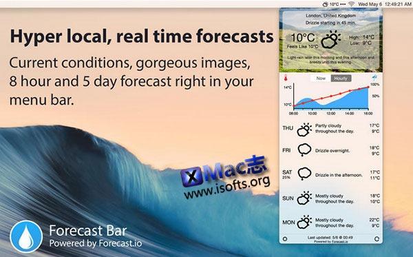 [Mac]菜单栏天气预报工具 : Forecast Bar