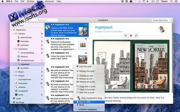[Mac] Tumblr桌面增强客户端 : Milk
