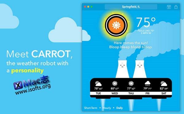 [Mac] 会吐槽的天气预报机器人 :  CARROT Weather