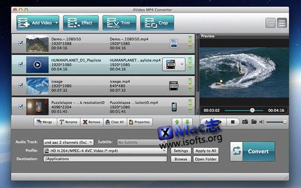 [Mac] MP4 视频格式转换器 : 4Video MP4 Converter