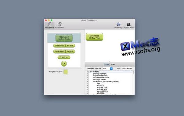[Mac] CSS 样式按钮快速制作工具 : Quick CSS Button