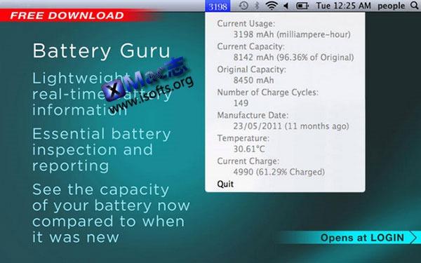 [Mac] Playbook电池检测软件 : Battery Guru