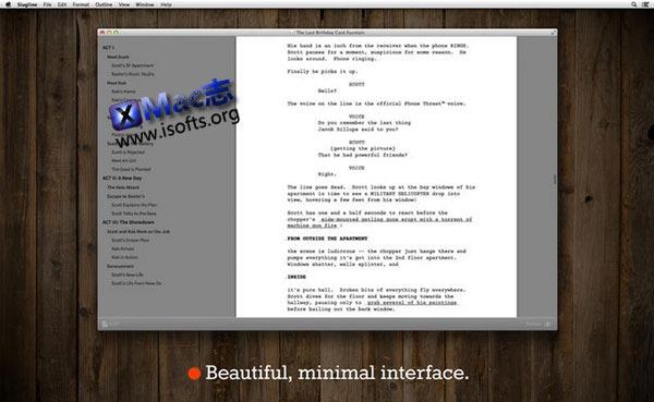 [Mac] 专业的剧本编写软件 : Slugline