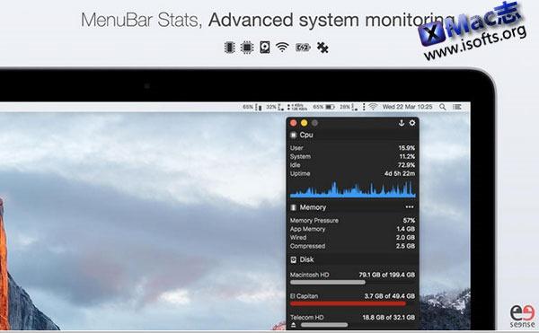 [Mac] 系统状态监控软件 : MenuBar Stats