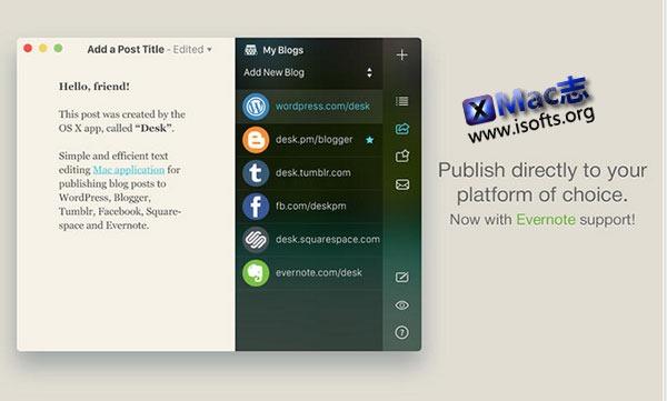 [Mac] Blog日志离线发布和写作软件 : Desk NT