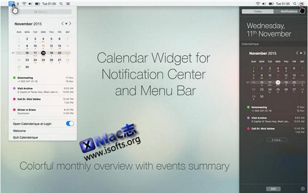 [Mac]增强型日历插件工具 : Calendarique