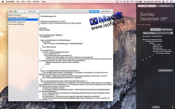 [Mac]代码模板管理工具 : Fast Start