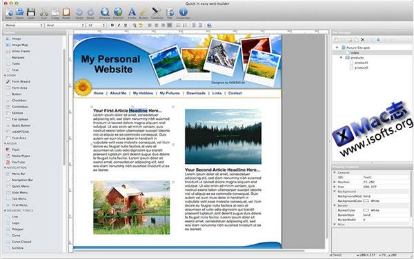 [Mac] 方便快速的网页制作工具 : Quick 'n Easy Web Builder