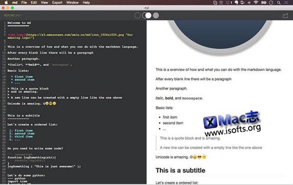 [Mac] Markdown文本工具 : md