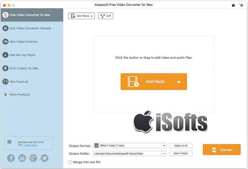 [Mac] Aiseesoft Free Video  Converter : 视频格式转换工具