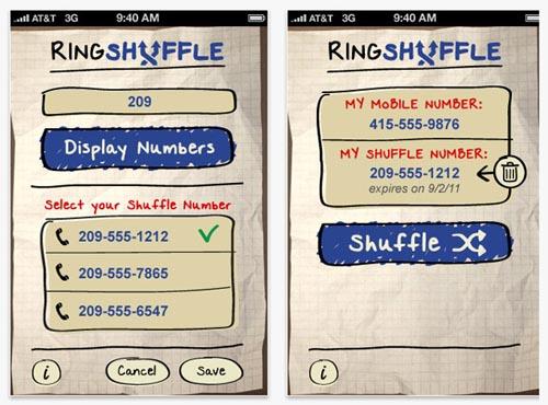 RingShuffle for iPhone:临时虚拟电话号码工具
